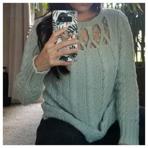 Beautiful lace insert cable knit chunky sweater